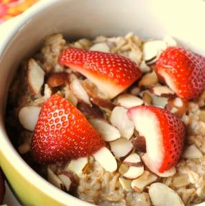 strawberries and oatmeal breakfast